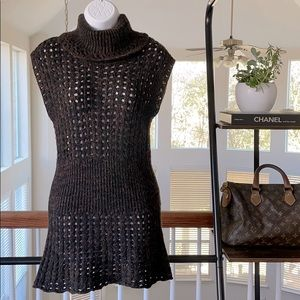 ❤️ CACHE Brown Chunky Knit Turtleneck Tunic Size M